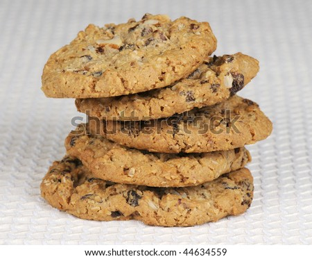Stack of oatmeal and raisin cookies