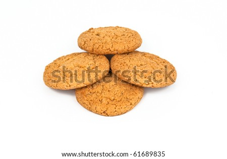 Stack of oatmeal cookies isolated on white