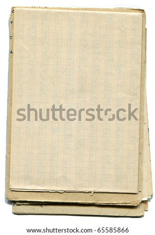 Stack of old and worn paper isolated on white background