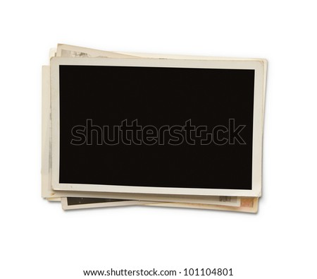 Stack of old blank photographs with clipping path for the inside