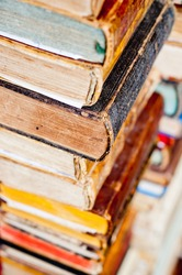 stack of old books. antique books background