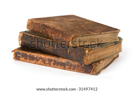 Stack of old Books Isolated on a White Background