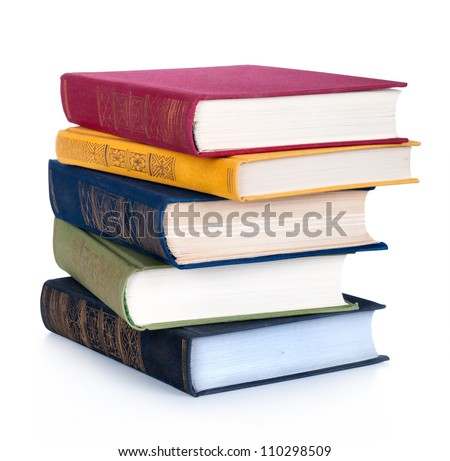 Shutterstock stack of Old books isolated on white