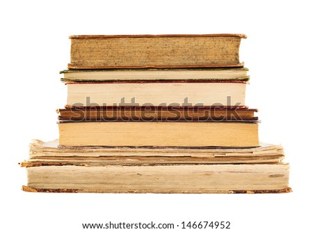 Stack of old books isolated over white background