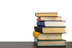 Stack of old books on shelf book on White background with clipping Path.Education learning and reading concept.