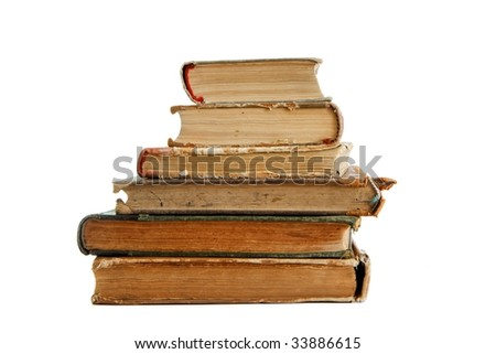Stack of old books seen from ends isolated