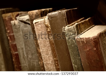 stack of old books. shallow DOF