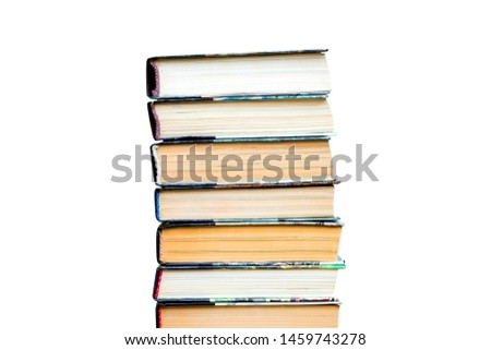 Stack of old books, textbooks isolated on white background