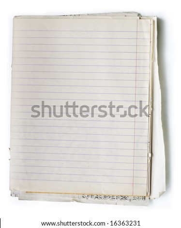 Stack of old lined papers from note book. Clipping path included to easy remove object shadow or replace background.