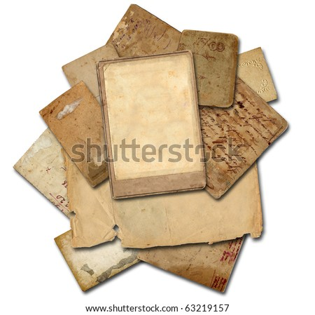 stack of old papers and photo frame (isolated)