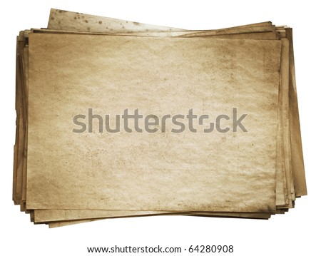 stack of old papers isolated on white background with clipping path
