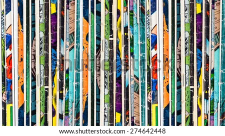 Photo of  Stack of old vintage comic books background texture