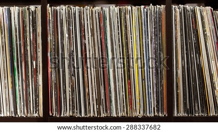 Stack of old vinyl records. closeup