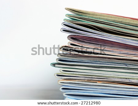 Stack of old writing-books on a light background