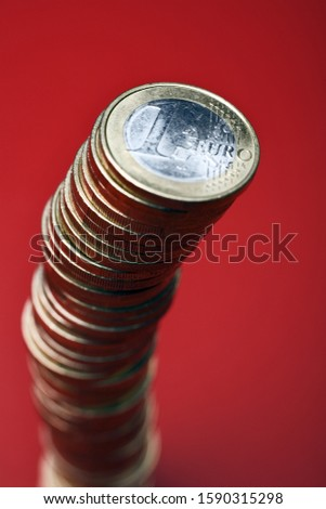 Stack of One Euro coins