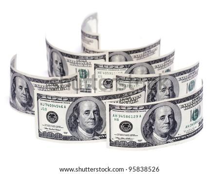 stack of one hundred dollar bills U.S. on white background - stock photo