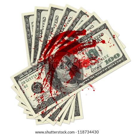 Stack of one hundred dollar bills  with blood spots