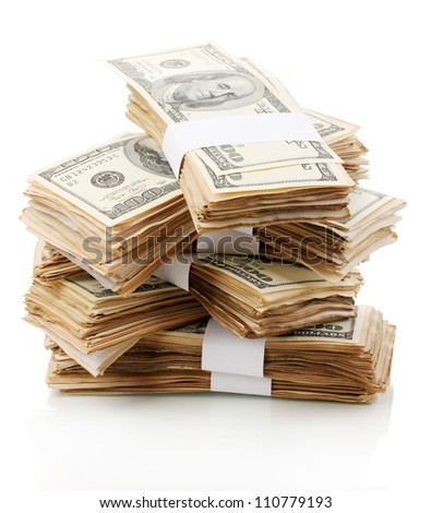 Stack of one hundred dollars banknotes close-up isolated on white - stock photo