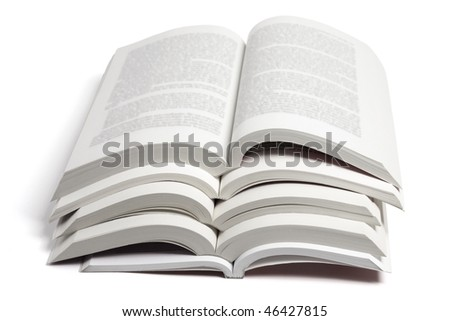 Stack of Open Books on White Background