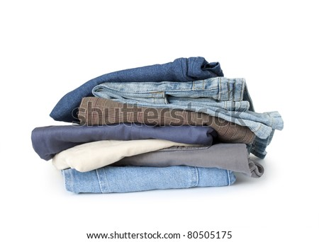 stack of pants isolated on white