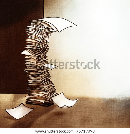 Stack of paper (artistic painterly style, rough simplified structured illustration)