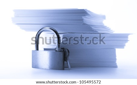 Stack of paper cards and keylock