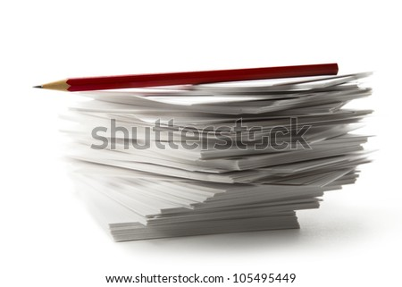 Stack of paper cards and pencil - stock photo