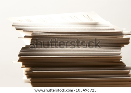 Stack of paper cards in yellow