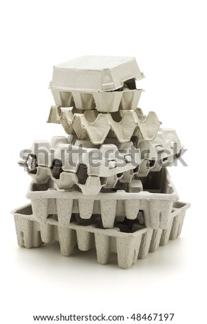 Stack of paper cartons for recycling on white background