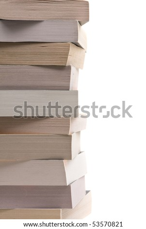 Stack of paperback books over white background
