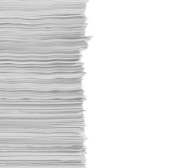 stack of papers in isolated background