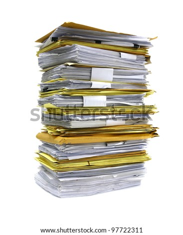 stack of papers isolated on white