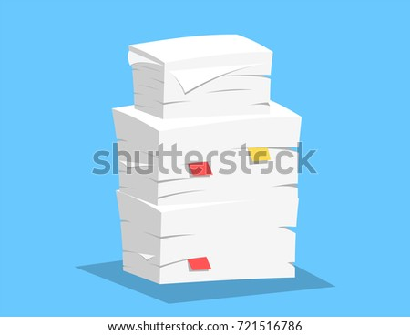 Stack of papers on blue background. illustration in flat style Raster version