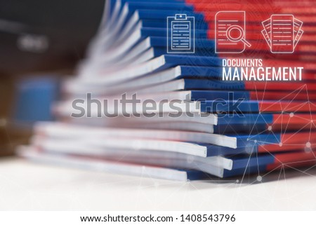 Stack of paperwork files document management concept: Pile documents reports papers company documentation or piles bureaucracy on office with business data network HUD technology icons background #1408543796