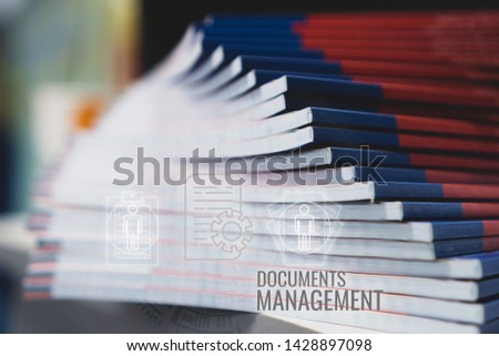 Stack of paperwork files document management concept: Pile documents reports papers company documentation or piles bureaucracy on office with business data network HUD technology icons background #1428897098