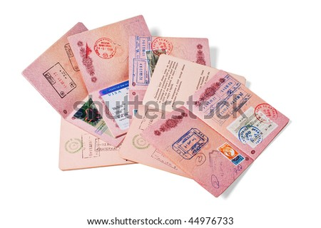stack of passports  isolated on white