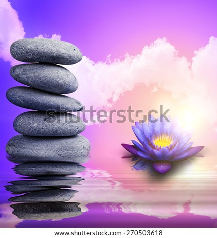 Stack of pebbles balancing isolated on art background #270503618