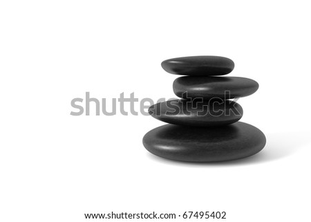 Stack of pebbles in balance. Clipping path included. Computer generated image.