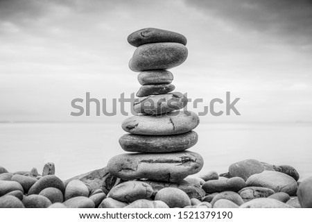Stack of pebbles in black and white