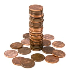 Stack of pennies isolated