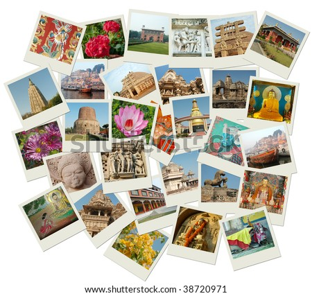 Stack of photo shots with central and northern India landmarks