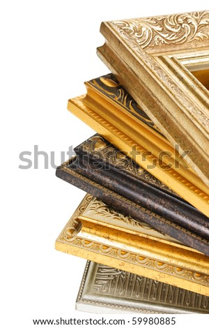 stack of picture frames isolated on a white background