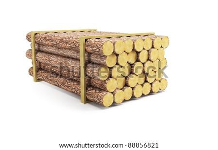 stack of pine logs, 3d render