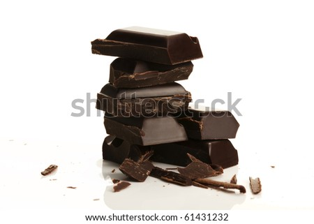 stack of plain chocolate on white background