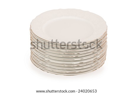 Stack of plain dinner plates isolated on white background