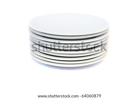 Stack of plates isolated on white background.