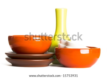 stack of plates on white background