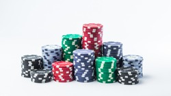Stack of poker chips on a white background