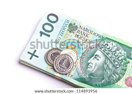Stack of polish money banknotes isolated on white background