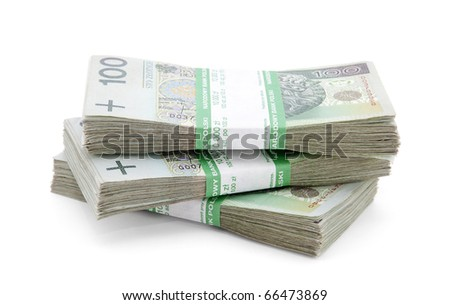Stack of polish zloty with clipping path
